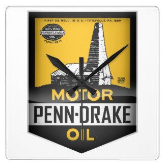 Penn-Drake Motor Oil vintage sign. Crystal version Square Wall Clock