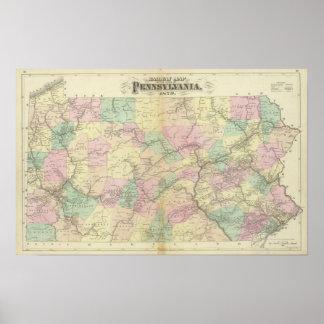 Penn railway map poster