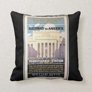Penn Station,Gateway To America 1929 Throw Pillows