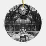 Penn Station New York Magic Lantern Slide Vintage Double-Sided Ceramic Round Christmas Ornament
