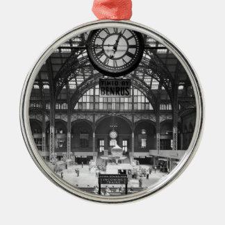 Penn Station New York Magic Lantern Slide Vintage Metal Ornament