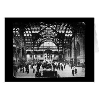 Penn Station NYC 1910 Magic Lantern Slide Card