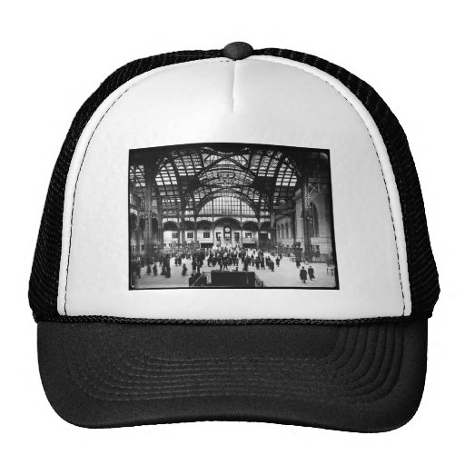 Penn Station NYC 1910 Magic Lantern Slide Hats