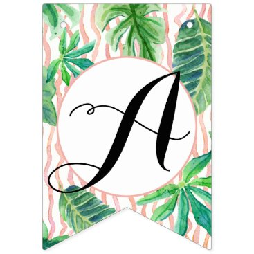 Beach Themed Pennant Bunting Bridal Shower Flamingo Leaf Stripe Bunting Flags