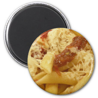 Penne pasta, tomatoes & cheese refrigerator magnets