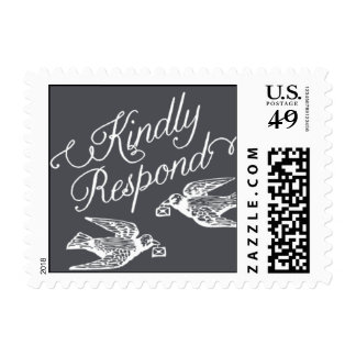 Penned - Kindly Respond - Gray Postage Stamp