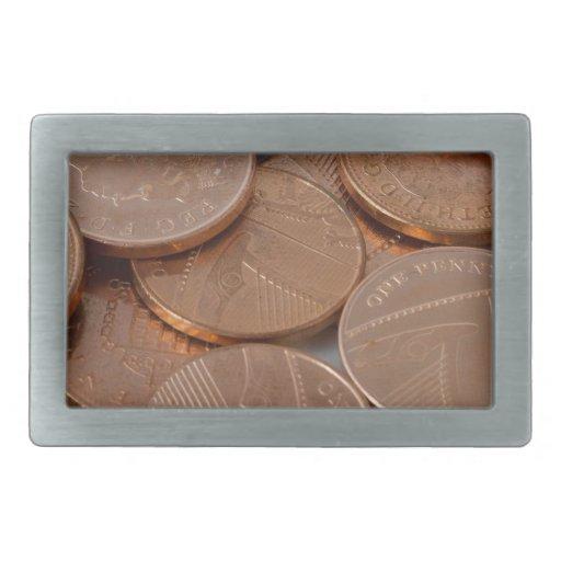 pennies design rectangular belt buckles