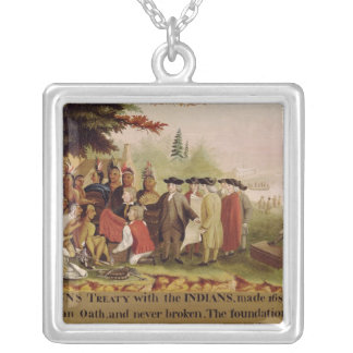 Penn's Treaty with the Indians in 1682, c.1840 Silver Plated Necklace
