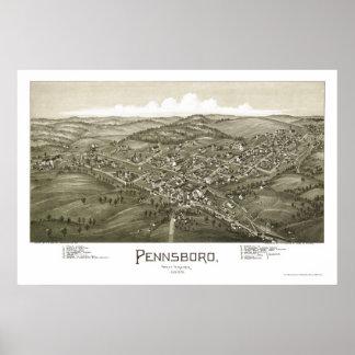 Pennsboro, mapa panorámico de WV - 1899 Póster