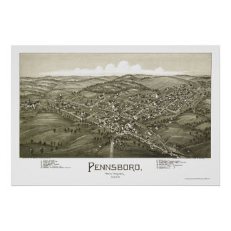 Pennsboro, WV Panoramic Map - 1899 Poster