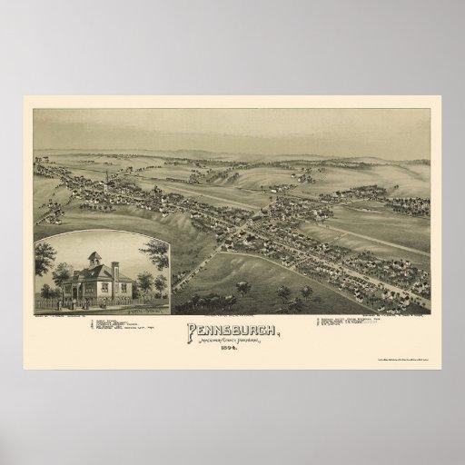 Pennsburgh, PA Panoramic Map - 1894 Poster