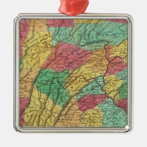 Pennsylvania 11 adorno cuadrado plateado