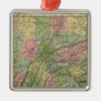 Pennsylvania 2 adorno navideño cuadrado de metal