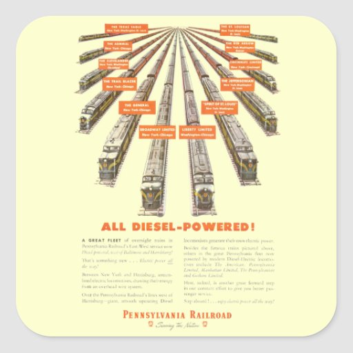 Pennsylvania ahora Railroads todo diesel Pegatina Cuadrada