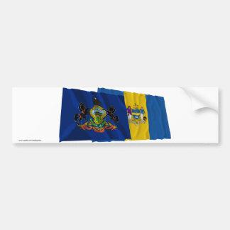 Pennsylvania and Philadelphia Flags Bumper Stickers
