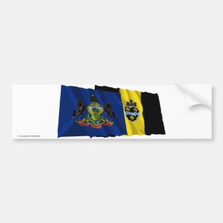 Pennsylvania and Pittsburgh Flags Bumper Sticker