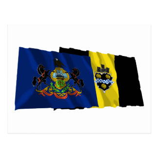 Pennsylvania and Pittsburgh Flags Postcard