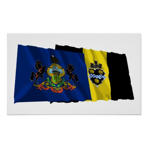 Pennsylvania and Pittsburgh Flags Poster