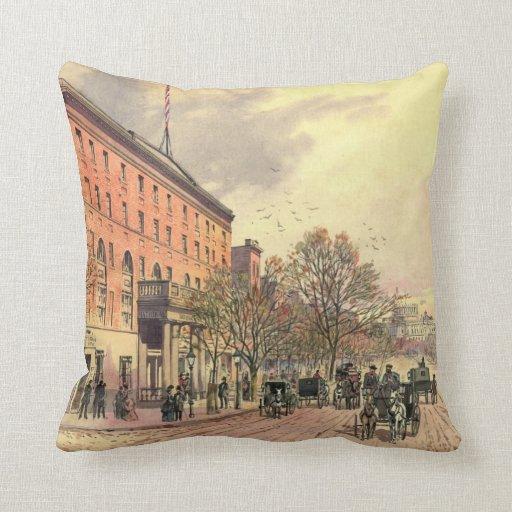 Pennsylvania Avenue and 6th Street 1860 Throw Pillows