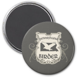 Round Magnet with Pennsylvania Birder design
