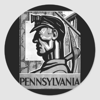 Pennsylvania Coal Poster WPA 1938 Classic Round Sticker