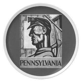 Pennsylvania Coal Poster WPA 1938 Dinner Plate