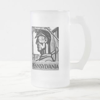 Pennsylvania Coal Poster WPA 1938 Frosted Glass Beer Mug