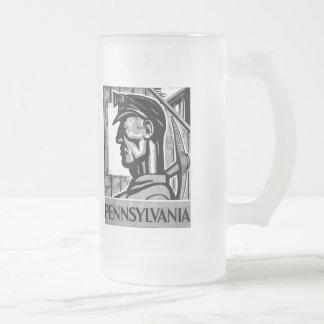 Pennsylvania Coal Poster WPA 1938 Frosted Glass Beer Mug