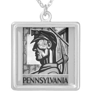 Pennsylvania Coal Poster WPA 1938 Necklace