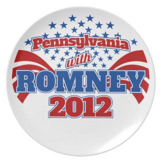 Pennsylvania con Romney 2012 Plato Para Fiesta