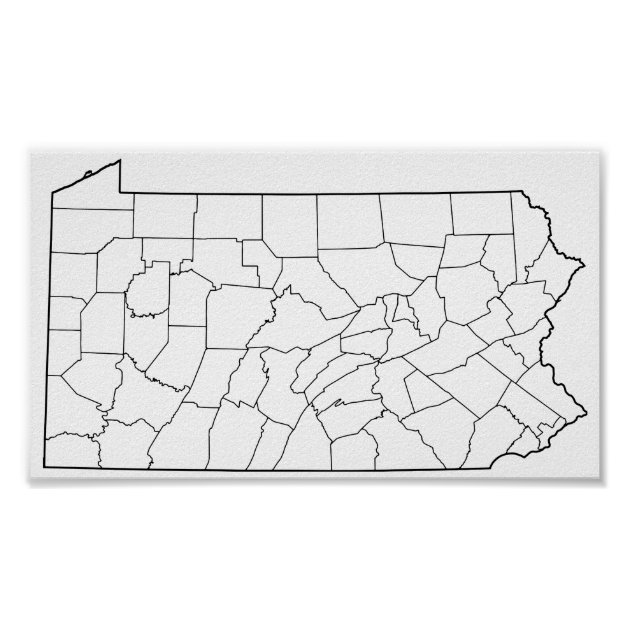 Image of: Pennsylvania Counties Blank Outline Map Poster Zazzle Com