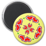 Pennsylvania Dutch Hex sign Hearts 2 Inch Round Magnet