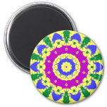 Pennsylvania Dutch Hex Sign Spring Green and Blue 2 Inch Round Magnet