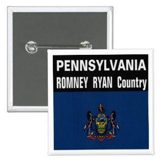PENNSYLVANIA es botón del país de Romney Ryan Pin Cuadrado