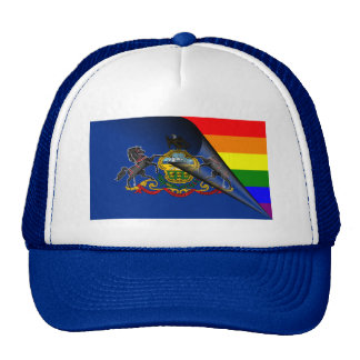 Pennsylvania Flag Gay Pride Rainbow Trucker Hat