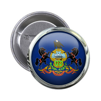 Pennsylvania Flag Glass Ball 2 Inch Round Button