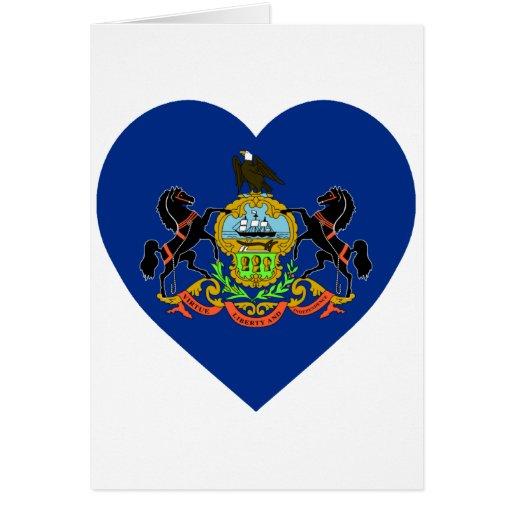 Pennsylvania Flag Heart Cards