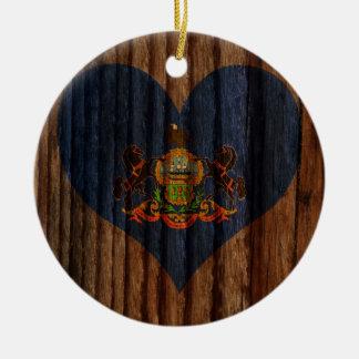 Pennsylvania Flag Heart on Wood theme Double-Sided Ceramic Round Christmas Ornament