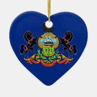 Pennsylvania Flag Heart Double-Sided Heart Ceramic Christmas Ornament