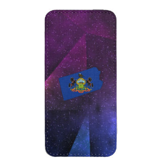 Pennsylvania Flag Map on abstract space background iPhone 5 Pouch