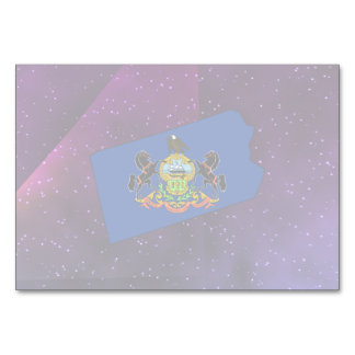 Pennsylvania Flag Map on abstract space background Table Card
