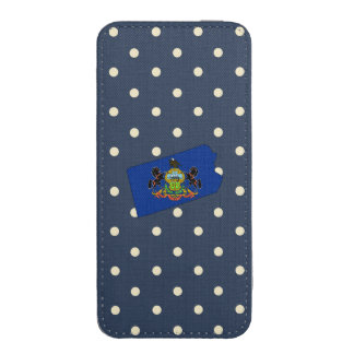 Pennsylvania Flag Map on Polka Dots iPhone 5 Pouch