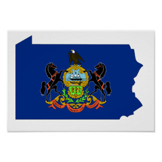 Pennsylvania Flag Map Poster