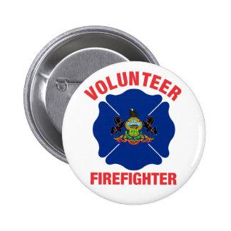 Pennsylvania Flag Volunteer Firefighter Cross 2 Inch Round Button