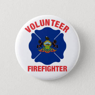 Pennsylvania Flag Volunteer Firefighter Cross Button