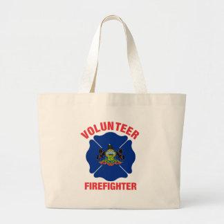 Pennsylvania Flag Volunteer Firefighter Cross Large Tote Bag