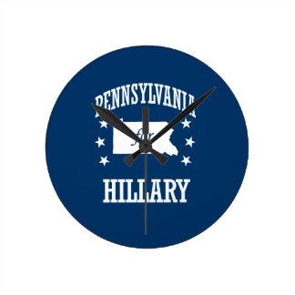 PENNSYLVANIA FOR HILLARY ROUND WALL CLOCKS