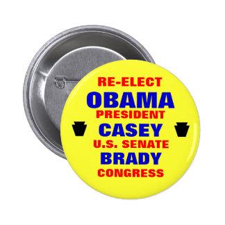 Pennsylvania for Obama Casey Brady Button