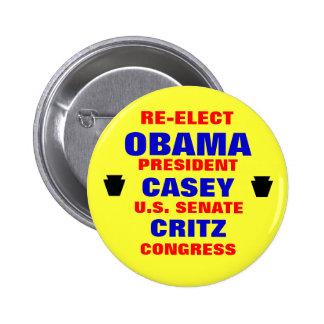 Pennsylvania for Obama Casey Critz Button