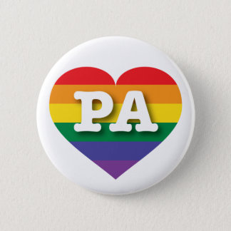 Pennsylvania Gay Pride Rainbow Heart - Big Love Pinback Button